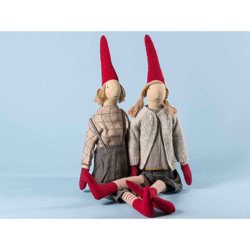 Maileg Wichtel Louise und Lukas Maxi Pixy Junge und Mädchen XL Kuscheltier Weihnachtsdekoration 62 cm