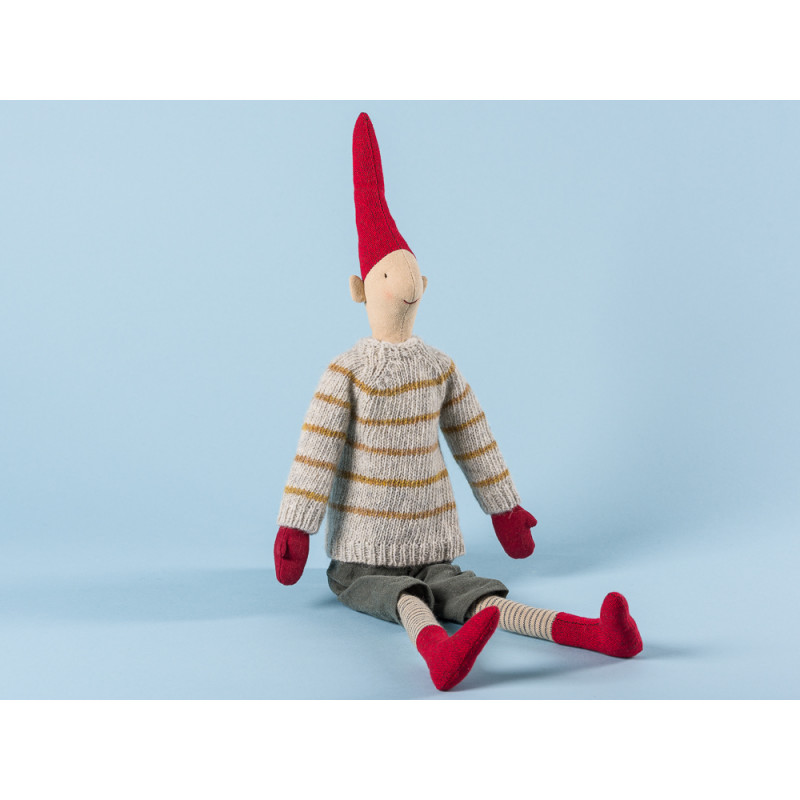 Maileg Wichtel Magnus Medium Pixy Junge im grauen Pullover mit gelben Streifen Kuscheltier Weihnachtsdekoration 50 cm