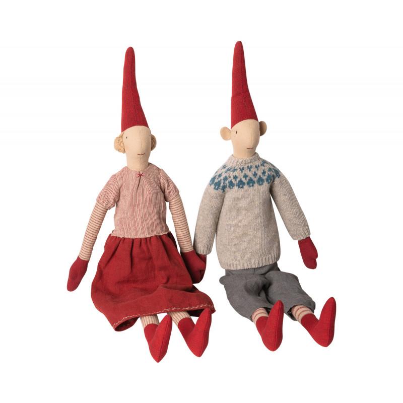 Maileg Wichtel Maxi Pixy Laura Lars 2er Set Mädchen und Junge Kuscheltiere im Weihnachtsdeko Shop