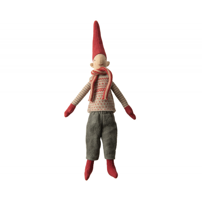 Maileg Wichtel Mini Climbing Pixy Junge im Strick Pullover Grau mit rotem Muster 33 cm