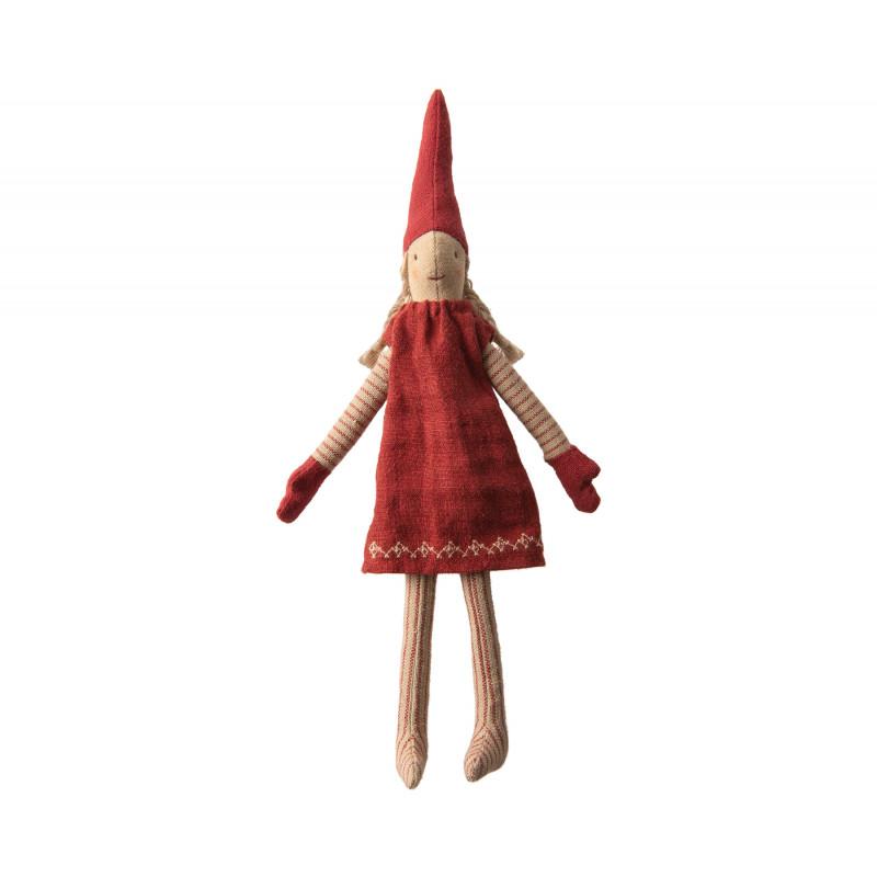 Maileg Wichtel Mini Climbing Pixy Mädchen im Strick Kleid rot mit Muster 33 cm