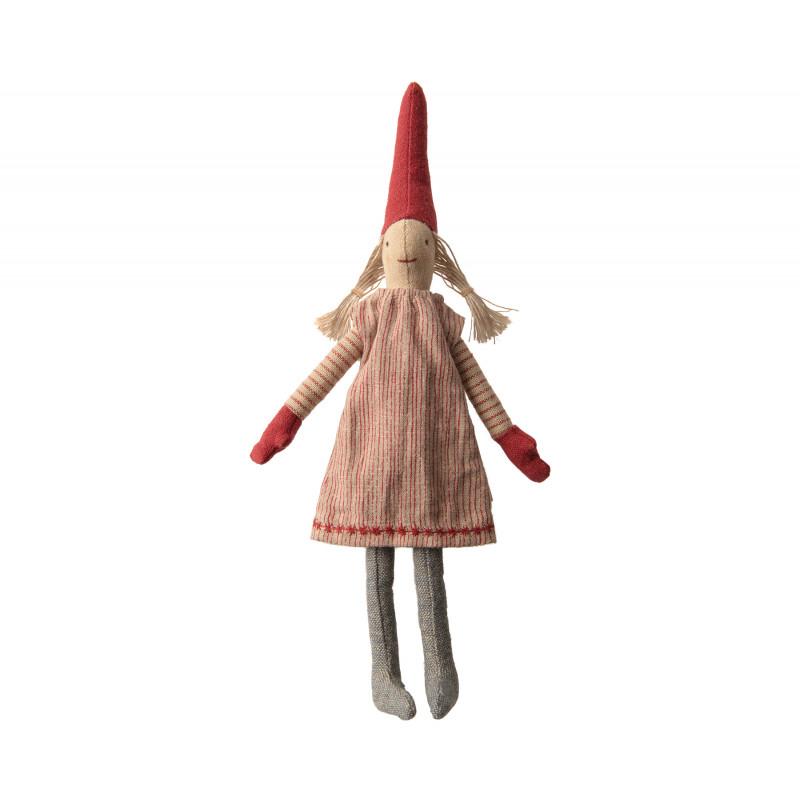 Maileg Wichtel Mini Climbing Pixy Mädchen mit Zöpfen im rot gestreiftem Kleid 33 cm
