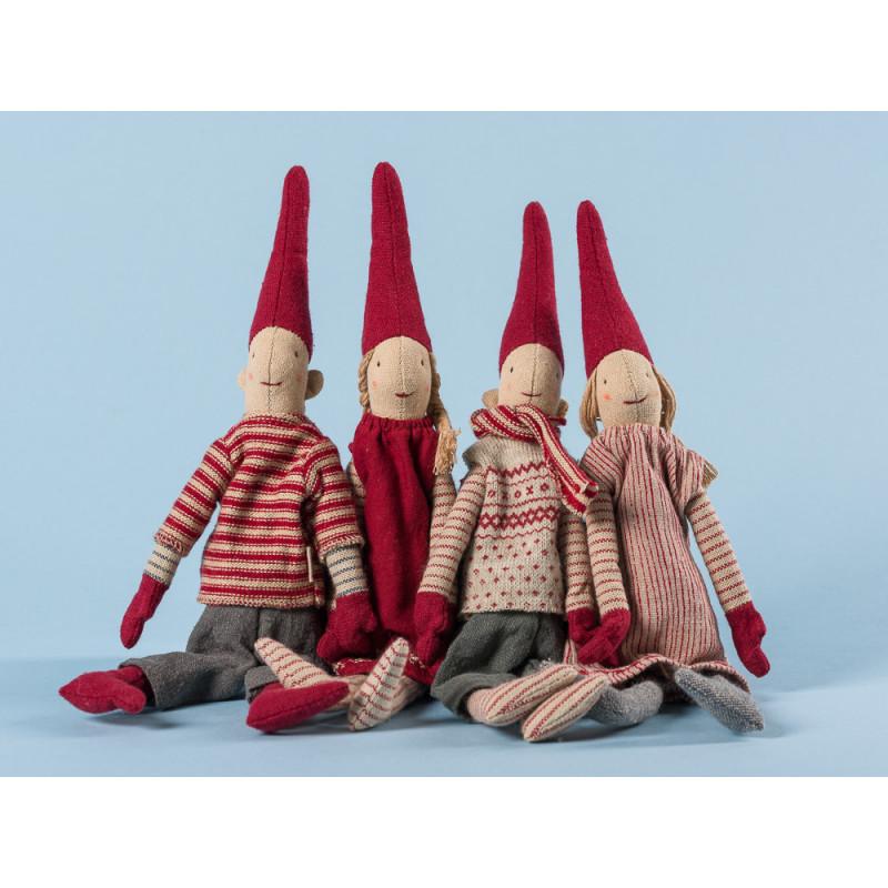 Maileg Wichtel Mini Climbing Pixy mit Magnet 4er Set 2 mal Junge 2 mal Mädchen mit roten Mützen Weihnachten Dekoration