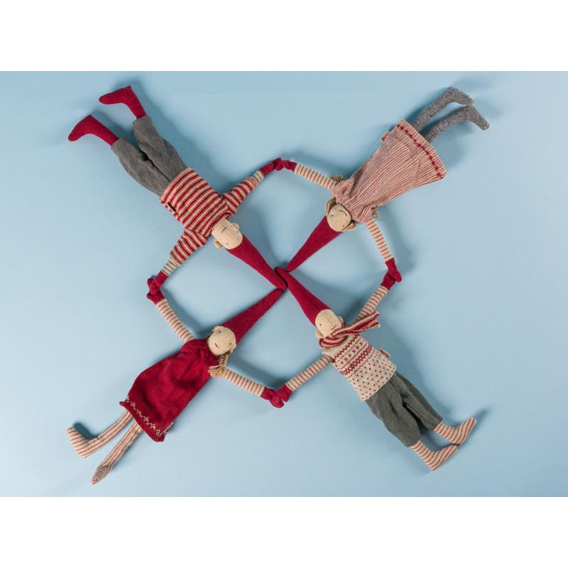 Maileg Wichtel Mini Climbing Pixy mit Magnet 4er Set mit roten Mützen Weihnachten Dekoration