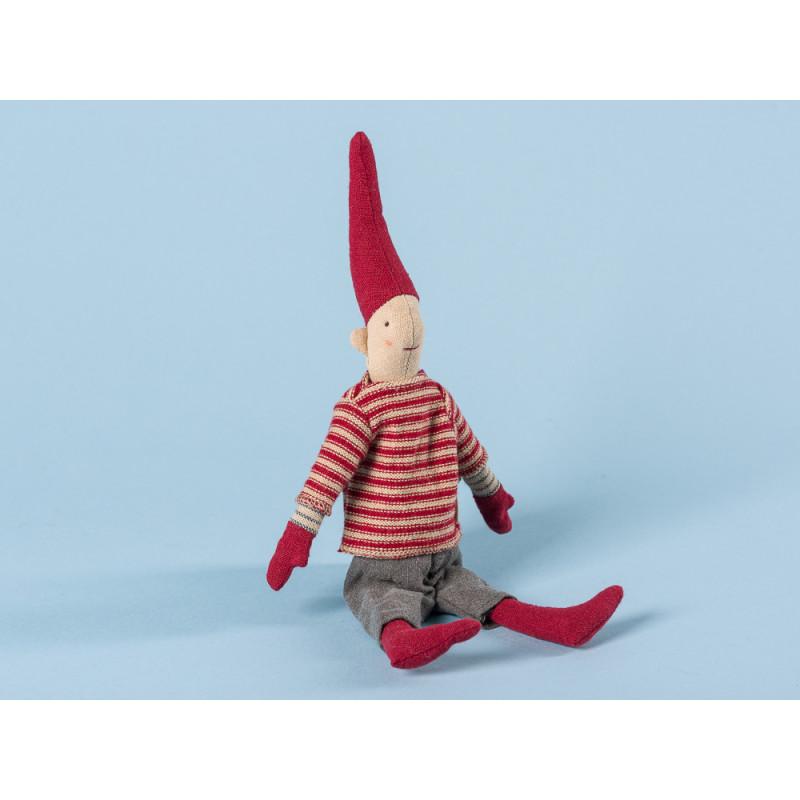 Maileg Wichtel Mini Climbing Pixy mit Magnet Junge mit weiß rot gestreiftem Pullover grauer Hose und roten Mützen 25 cm hoch Weihnachten Dekoration