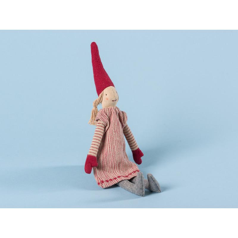 Maileg Wichtel Mini Climbing Pixy mit Magnet Mädchen mit rot gestreiftem Kleid und roten Mützen 25 cm hoch Weihnachten Dekoration
