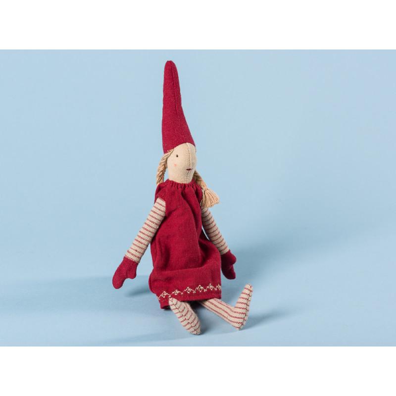 Maileg Wichtel Mini Climbing Pixy mit Magnet Mädchen mit rotem Kleid und roten Mützen 25 cm hoch Weihnachten Dekoration