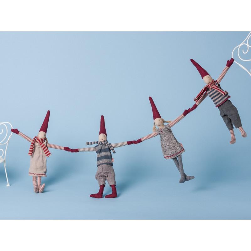 Maileg Wichtel Mini mit Magnet 4er Set Pixi Weihnachtswichtel Nissen Mädchen Jung Climbing