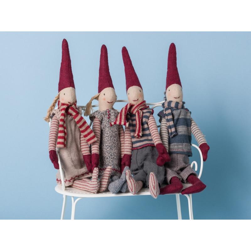 Maileg Wichtel Mini mit Magnet 4er Set Pixi Weihnachtswichtel Nissen Kette magnetisch Junge Mädchen
