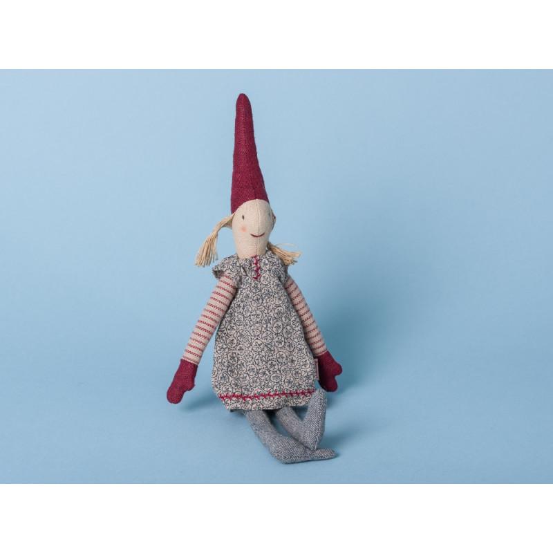 Maileg Wichtel Mini mit Magnet Pixi Weihnachtswichtel Nisse geblümten Kleid