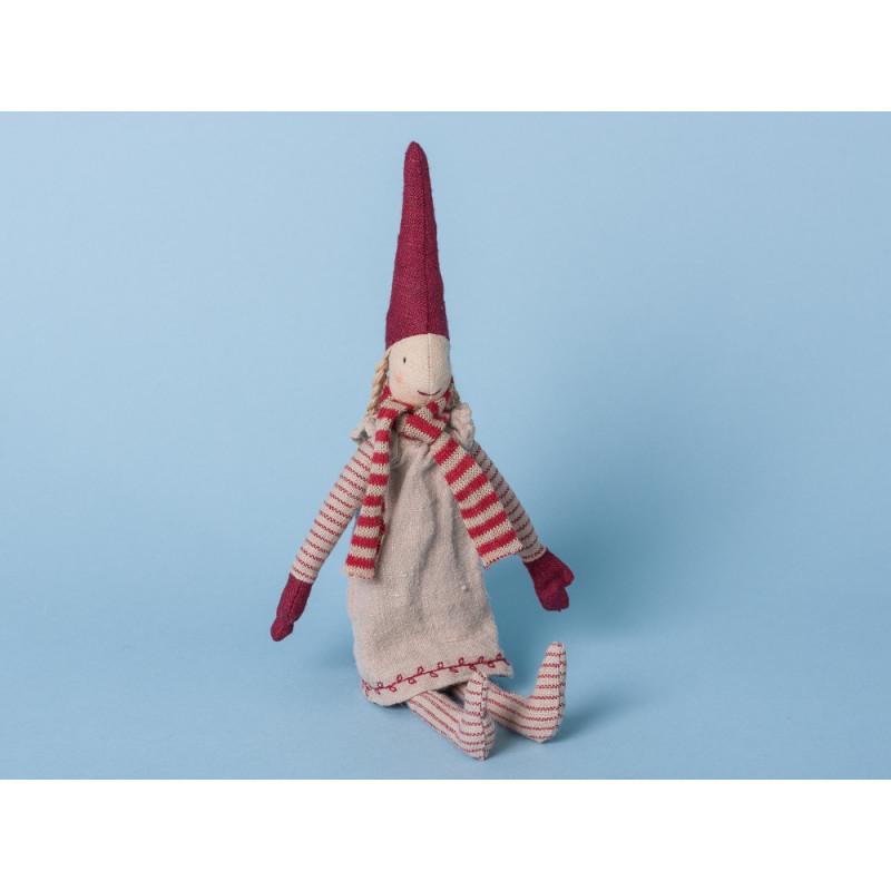 Maileg Wichtel Mini mit Magnet Pixi Weihnachtswichtel Nisse Kleid beige