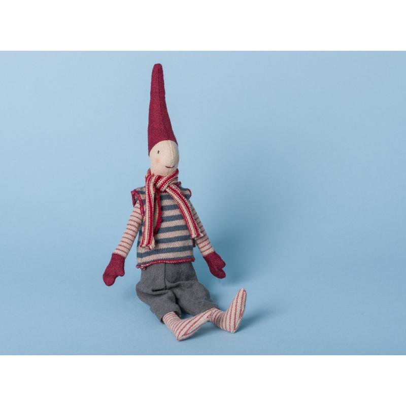 Maileg Wichtel Mini mit Magnet Pixi Weihnachtswichtel Nisse Schal rot
