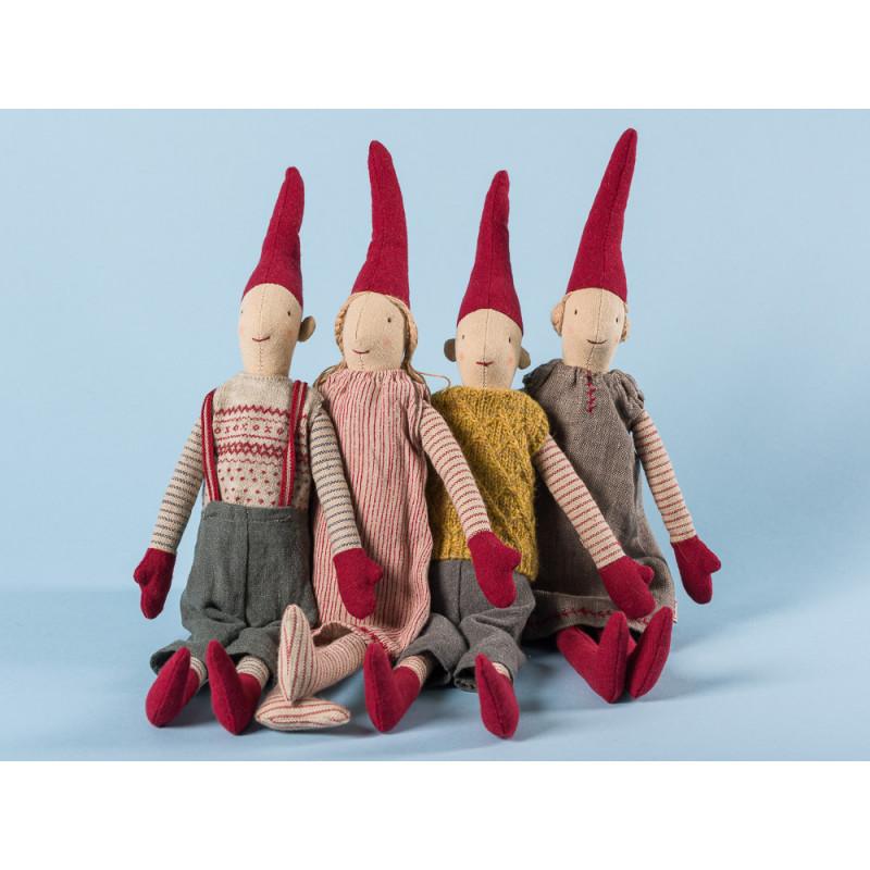 Maileg Wichtel Mini Pixy 4er Set 2 mal Junge 2 mal Mädchen mit roten Mützen Weihnachten Dekoration