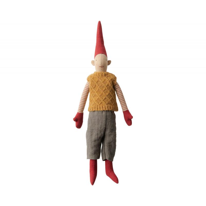 Maileg Wichtel Mini Pixy Junge im gelben Strick Pullover mit Ringelshirt Weihnachten Dekoration