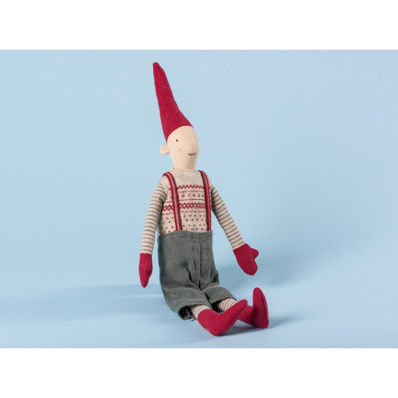 Maileg Wichtel Mini Pixy Junge im Pullunder mit rotem Muster grauer Hose mit Hosenträgern und roten Mützen 33 cm hoch Weihnachten Dekoration