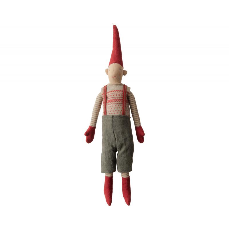 Maileg Wichtel Mini Pixy Junge in grauer Hose mit Hosenträgern Weihnachten Dekoration
