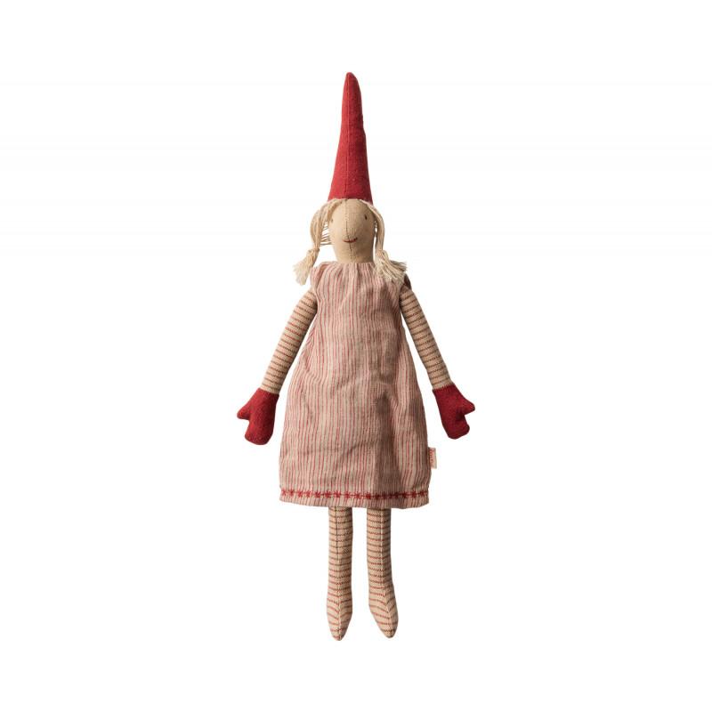 Maileg Wichtel Mini Pixy Mädchen im roten Kleid 33 cm Weihnachten Dekoration