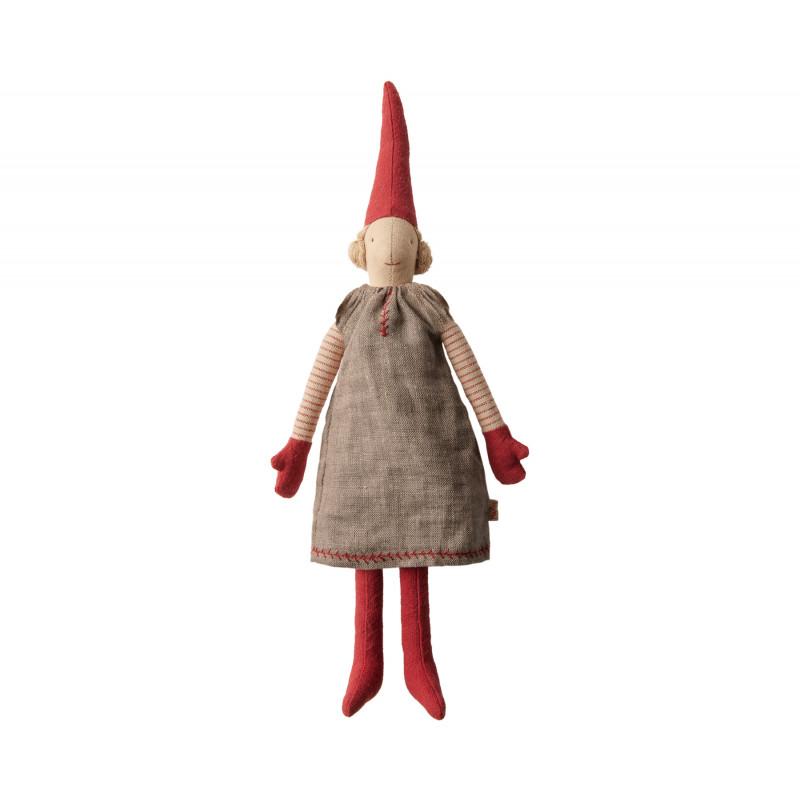 Maileg Wichtel Mini Pixy Mädchen in grauem Kleid mit Ringelshirt Weihnachten Dekoration