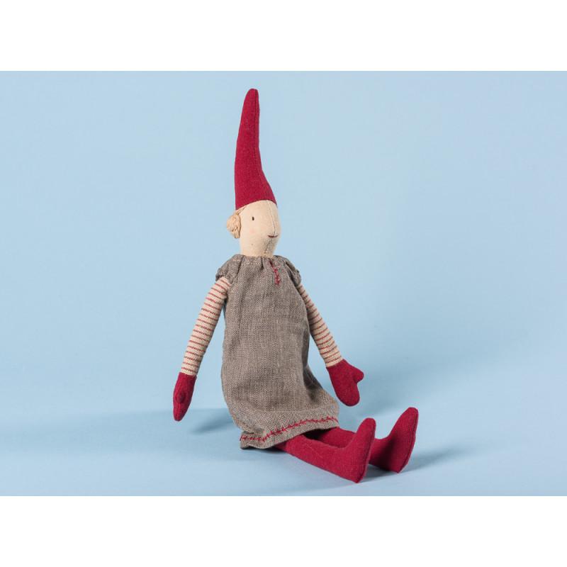 Maileg Wichtel Mini Pixy Mädchen mit grauem Kleid und roten Mützen 33 cm hoch Weihnachten Dekoration