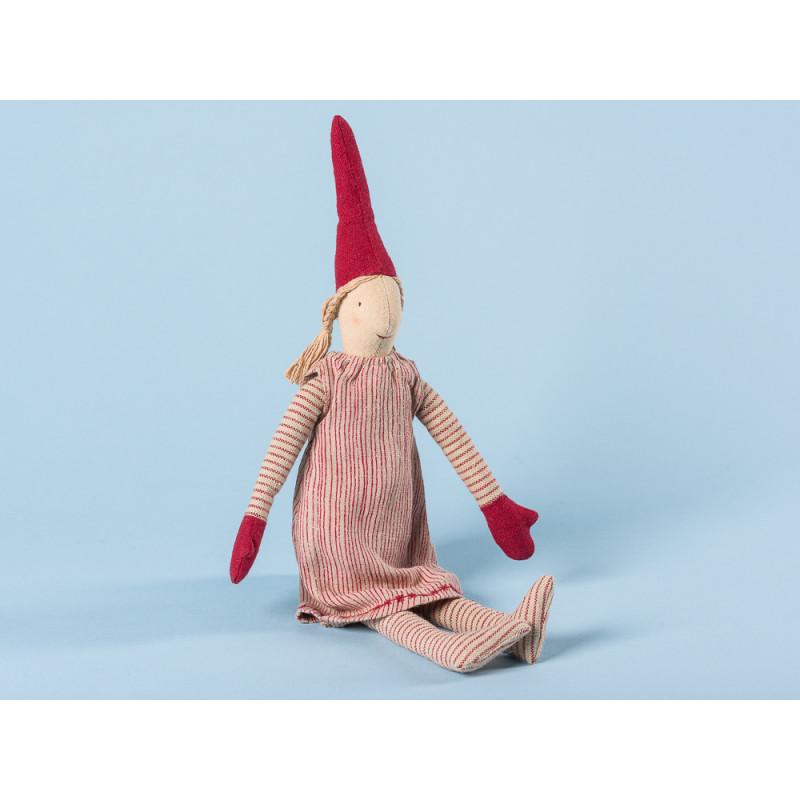 Maileg Wichtel Mini Pixy Mädchen mit rot gestreiftem Kleid und roten Mützen 33 cm hoch Weihnachten Dekoration