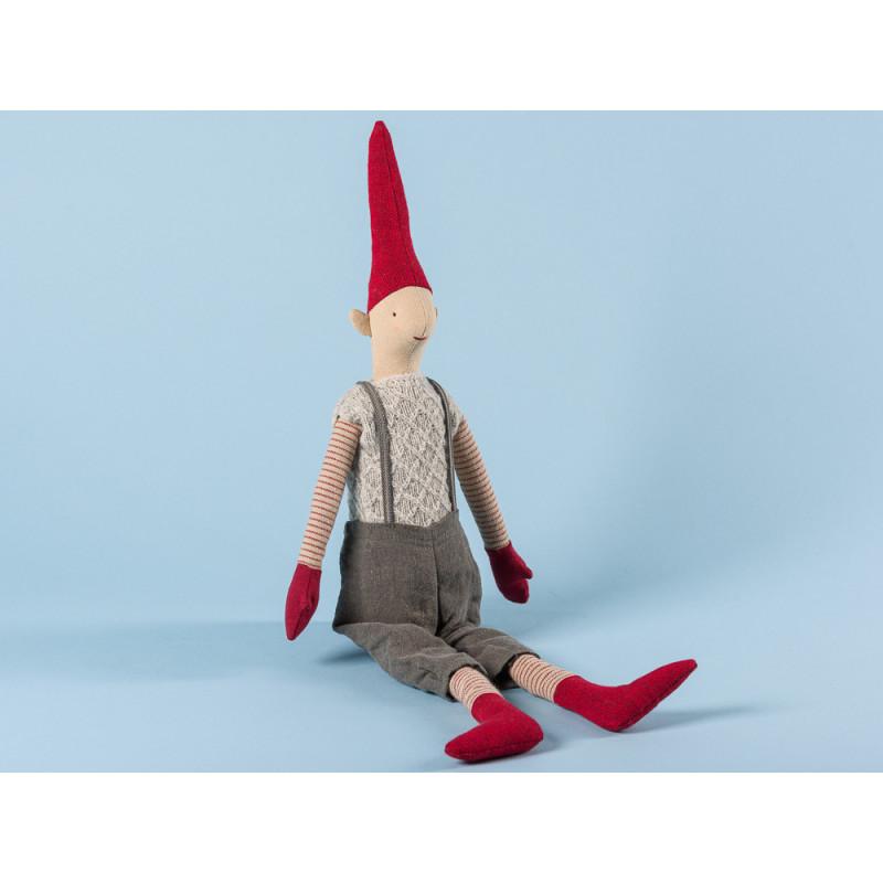 Maileg Wichtel Morten Medium Pixy Junge im grauen Strick Pullunder und Hose mit Hosenträgern Kuscheltier Weihnachtsdekoration 50 cm