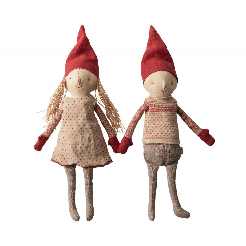 Maileg Winter Friends Pixy Boy Girl stehend Weihnachten Deko Wichtel Junge und Mädchen Kuscheltier