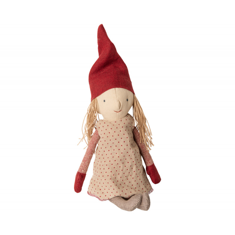 Maileg Winter Friends Pixy Girl sitzend Weihnachten Deko Wichtel Kuscheltier 32 cm