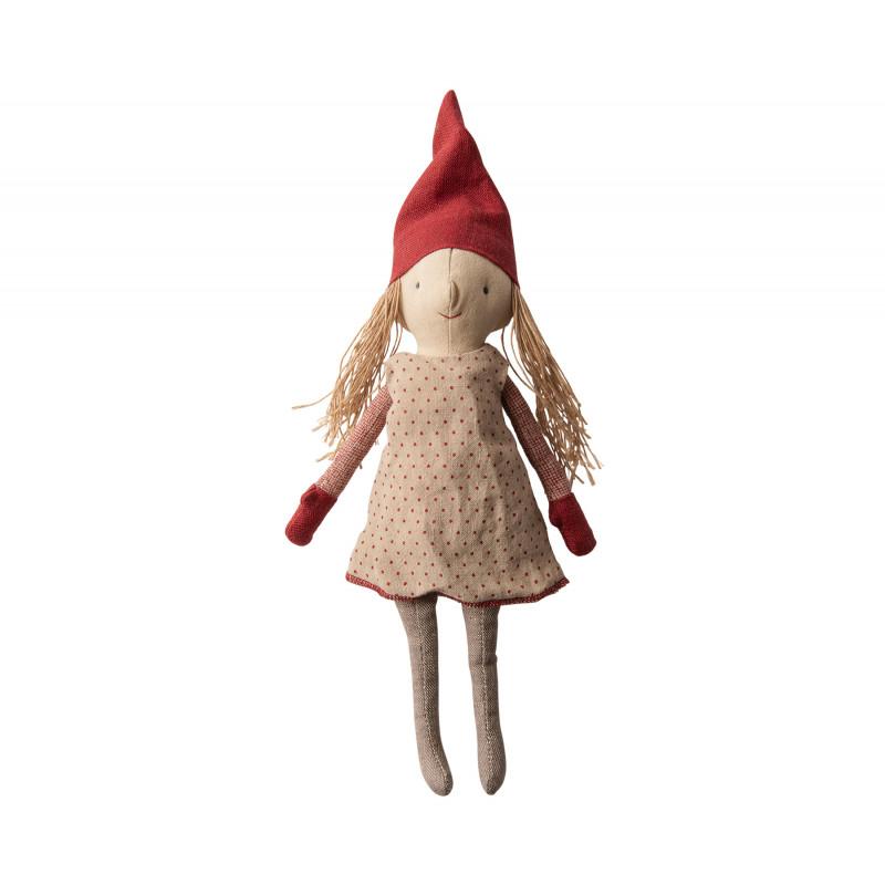 Maileg Winter Friends Pixy Girl stehend Weihnachten Deko Wichtel Mädchen Kuscheltier 32 cm