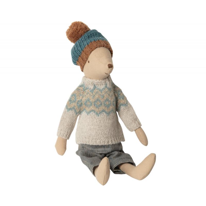 Maileg Winter Mouse Medium Boy Junge Maus mit Wollmütze und Strickpulli 31 cm groß