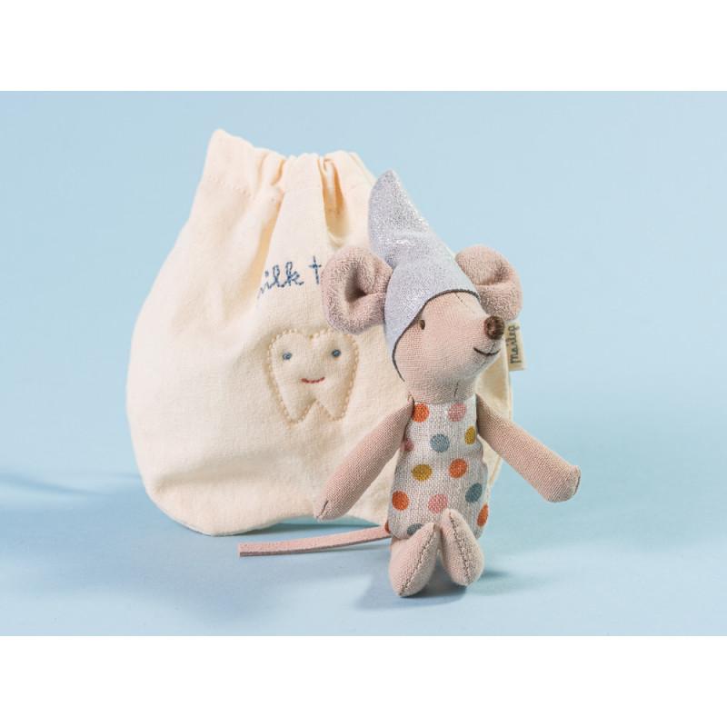 Maileg Zahnfee Maus Kleine Schwester mit Tasche aus Baumwolle für Milchzähne