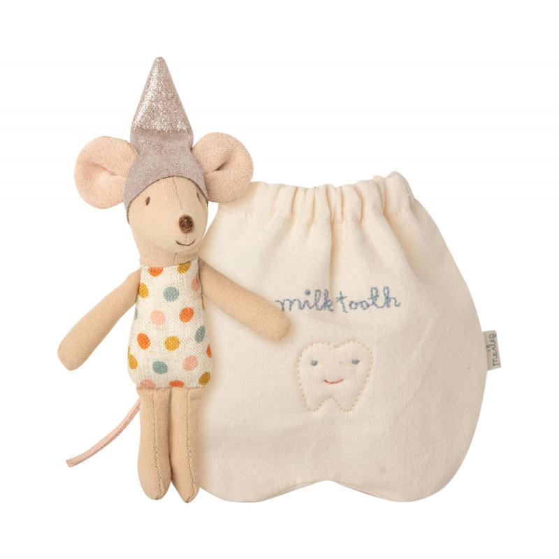 Maileg Zahnfee Maus Kleine Schwester mit Tasche für Milchzähne Maileg Produkt Nummer 16-0720-00