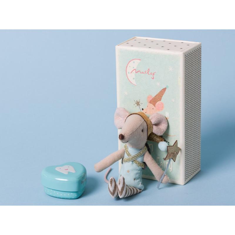 Maileg Zahnfee mit Zahndose blau in Geschenk Box Großer Bruder 12 cm groß