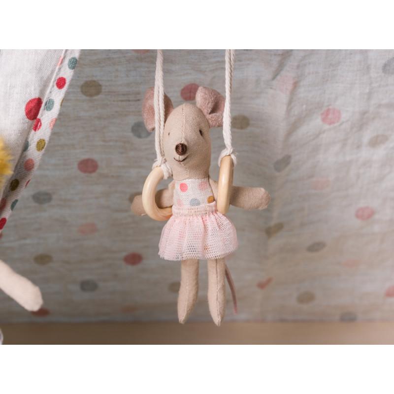 Maileg Zirkus mit drei Zirkusmaus Ballerina Akrobatin Ringe Kleid
