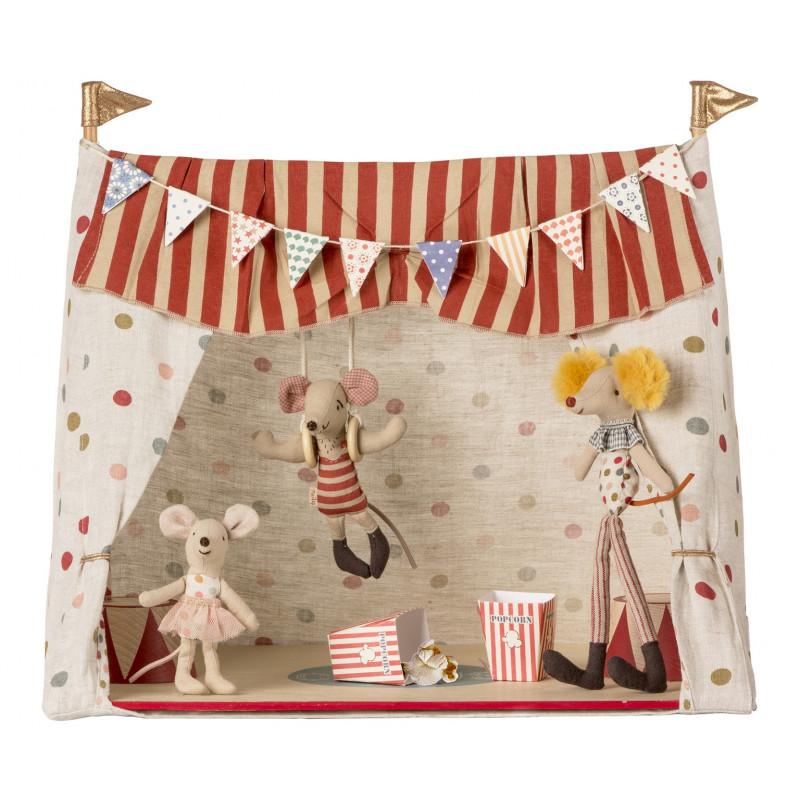 Maileg Zirkuszelt mit drei Maileg Zirkus Mäusen Größe 48 cm