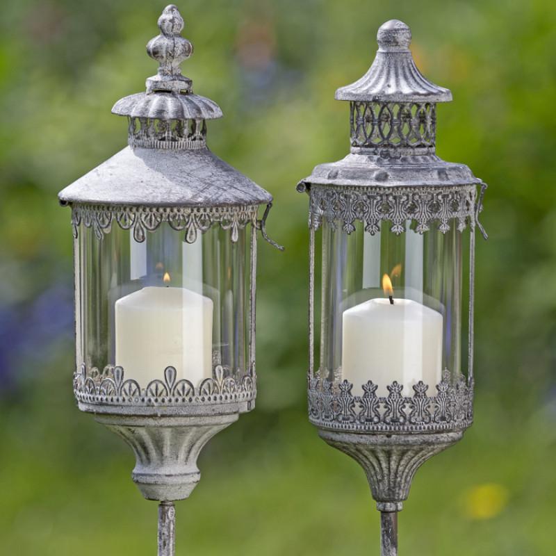 Metall Laterne Bristol und Dover auf Stab Gartendeko im Vintage Stil Windlicht Garten Stecker Duo