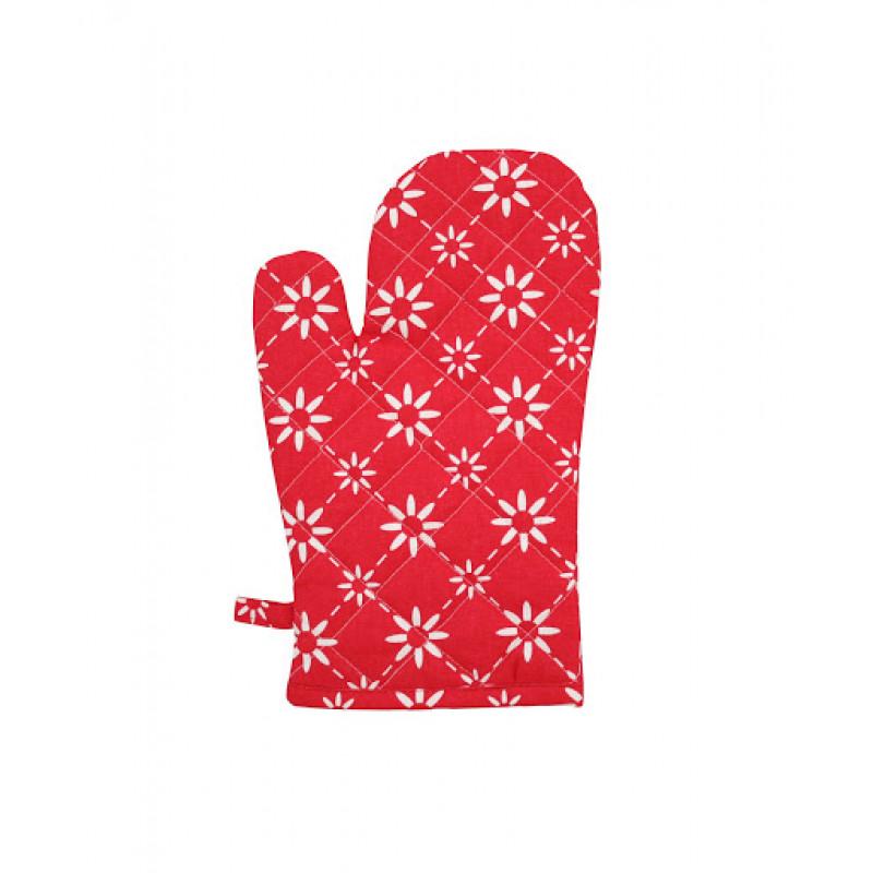 Ofenhandschuh Diagonal rot Blumen weiß Krasilnikoff