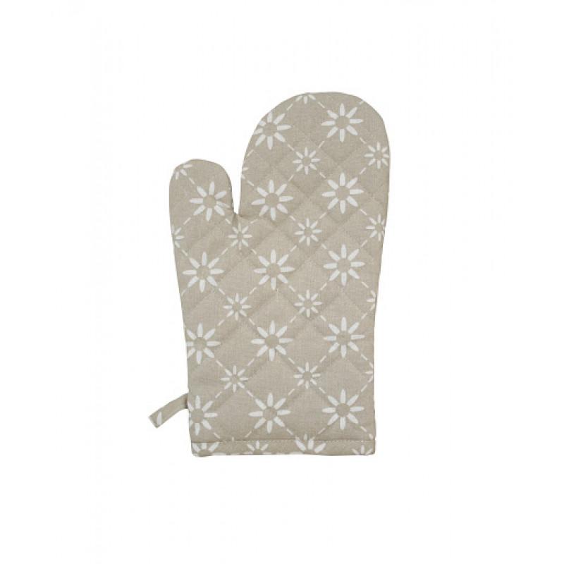 Ofenhandschuh Diagonal taupe Blumen weiß Krasilnikoff