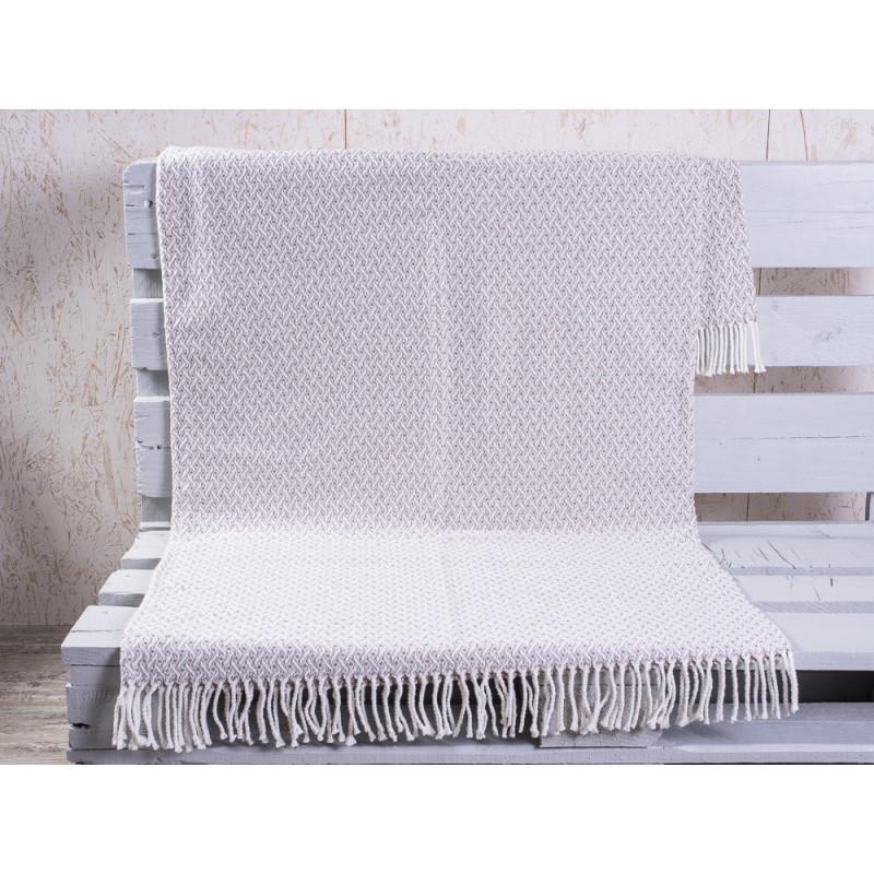 pad concept Wolldecke Madison taupe beige Decke mit Fransen creme weiß 150x200 cm