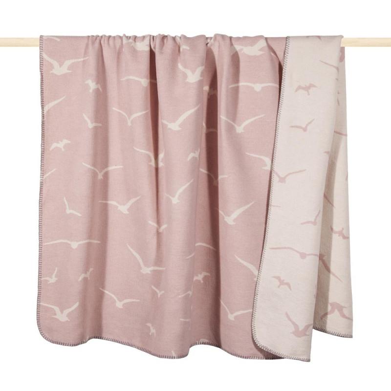 Pad Decke Möwe rosa weiß Wolldecke dusty pink mit Möwen von pad concept