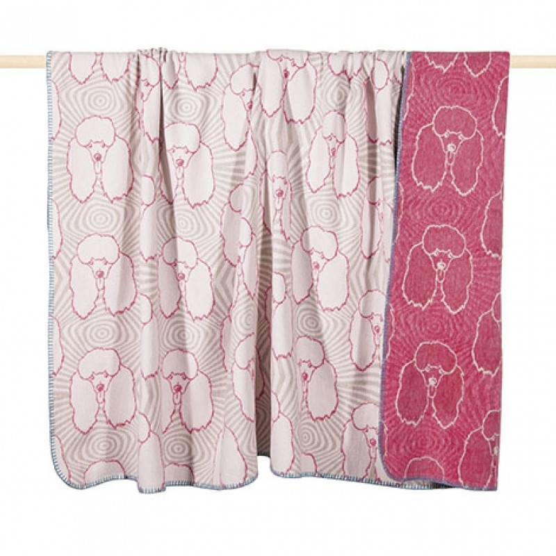 Pad Decke Pudel rot weiß Wolldecke fuchsia mit Hunden von pad concept
