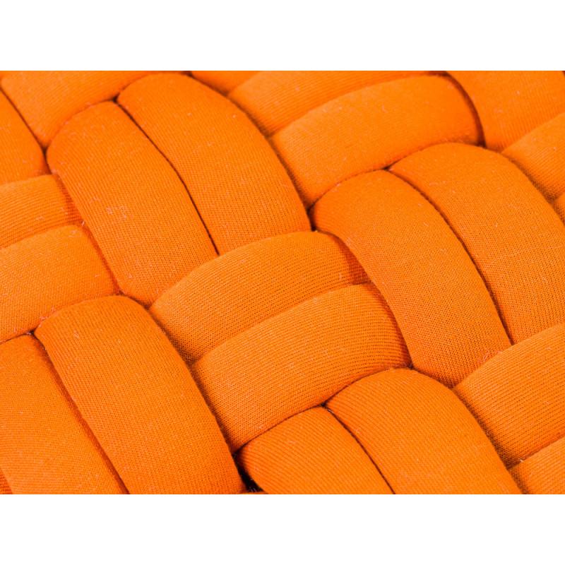 Pad Hocker Lokken Orange Knoten Design Pouf Sitzkissen Detail Farbe Stoff