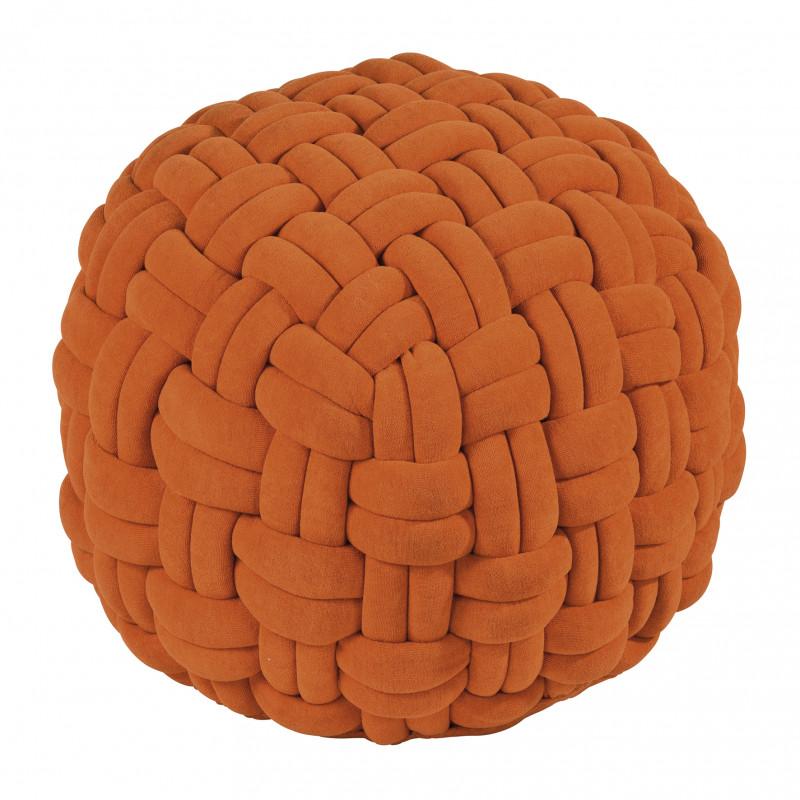 Pad Hocker Lokken Orange Knoten Pouf Sitzkissen aus Polyester 59x40 cm Sitzpuff von Pad Concept Home Design