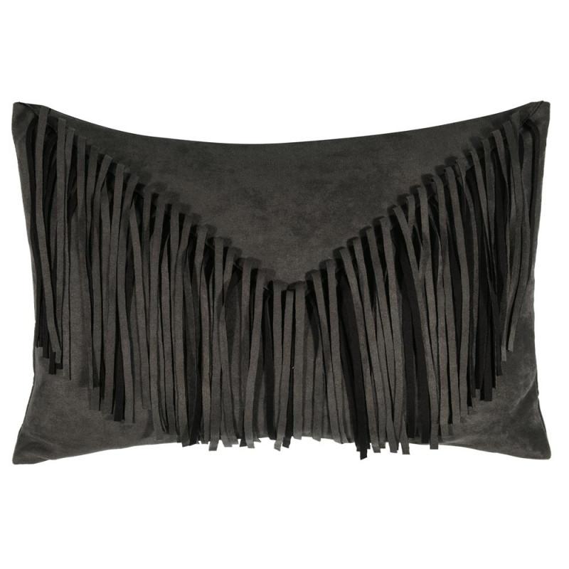 fransenkissen in wildlederoptik dunkel grau nur hier. Black Bedroom Furniture Sets. Home Design Ideas