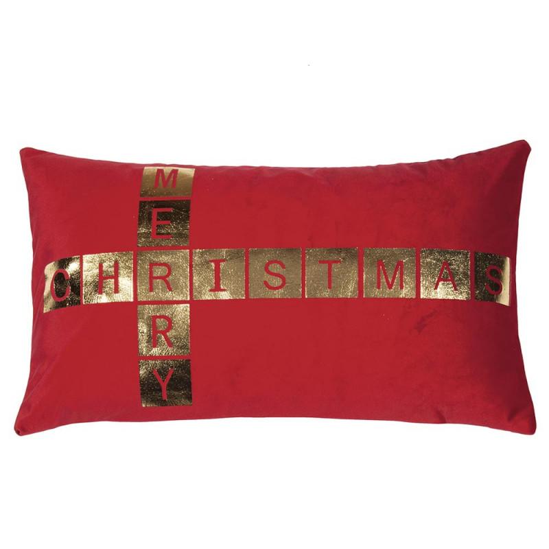 Pad Kissen Greet rot Merry Christmas Kissenhülle 30x50 Weihnachtsdeko