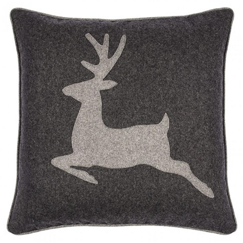 Pad Kissen Laax grau mit Hirsch Kissenhülle 45x45 Weihnachtsdeko