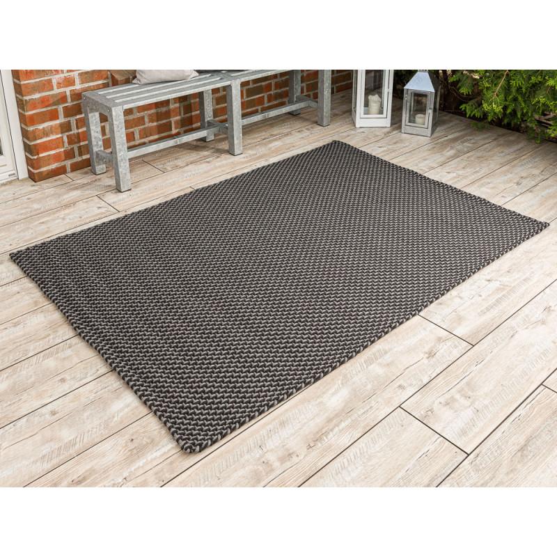 Pad Outdoor Teppich Pool grau schwarz 140x200 cm groß Pad Concept stone black für die Terrasse innen und außen waschbar