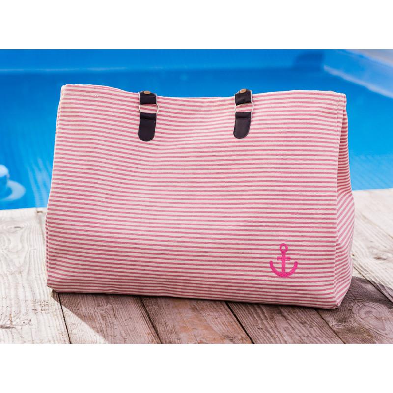 Pad Tasche Anker Rosa Pink Weiss gestreift aus Baumwolle Shopper für den Strand Besuch oder am Pool 22x40x52cm