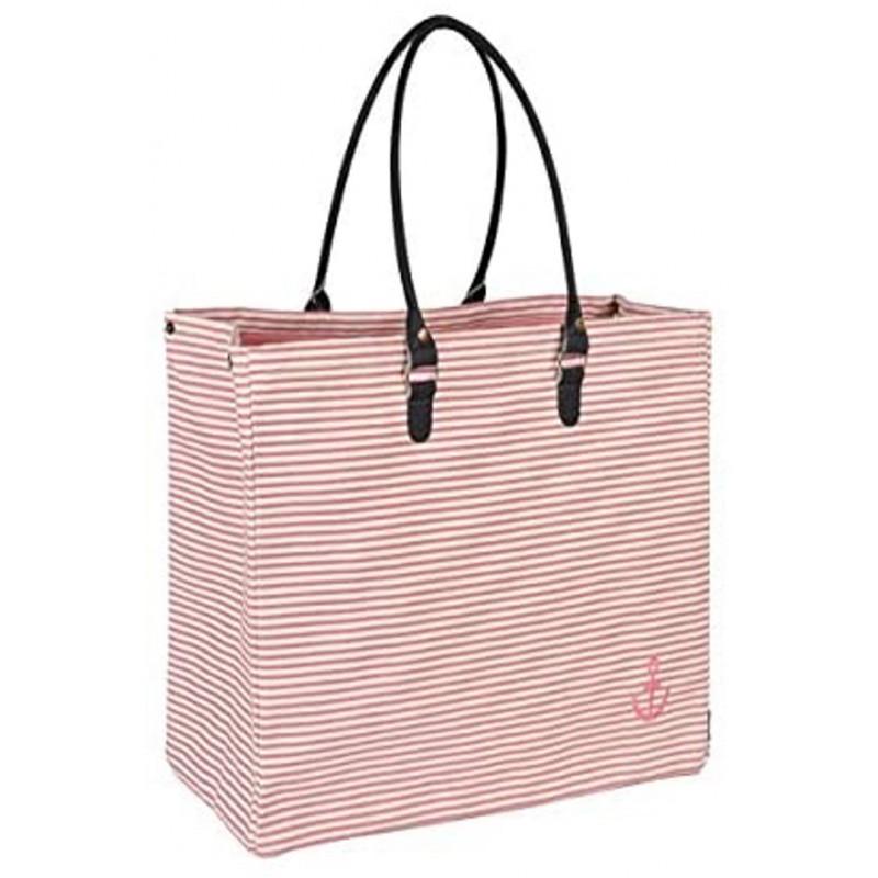 Pad Tasche Anker Rosa Pink Weiss gestreift Baumwolle Strandtasche Pad Concept Shopper 22x40x52cm