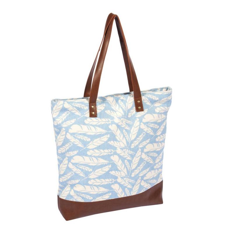 Pad Tasche Feather aqua türkis Shopper im Feder Design
