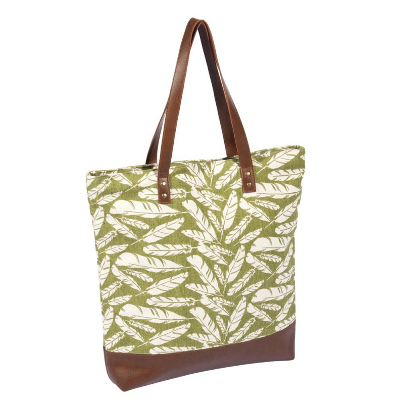 Pad Tasche Feather grün Shopper im Feder Design